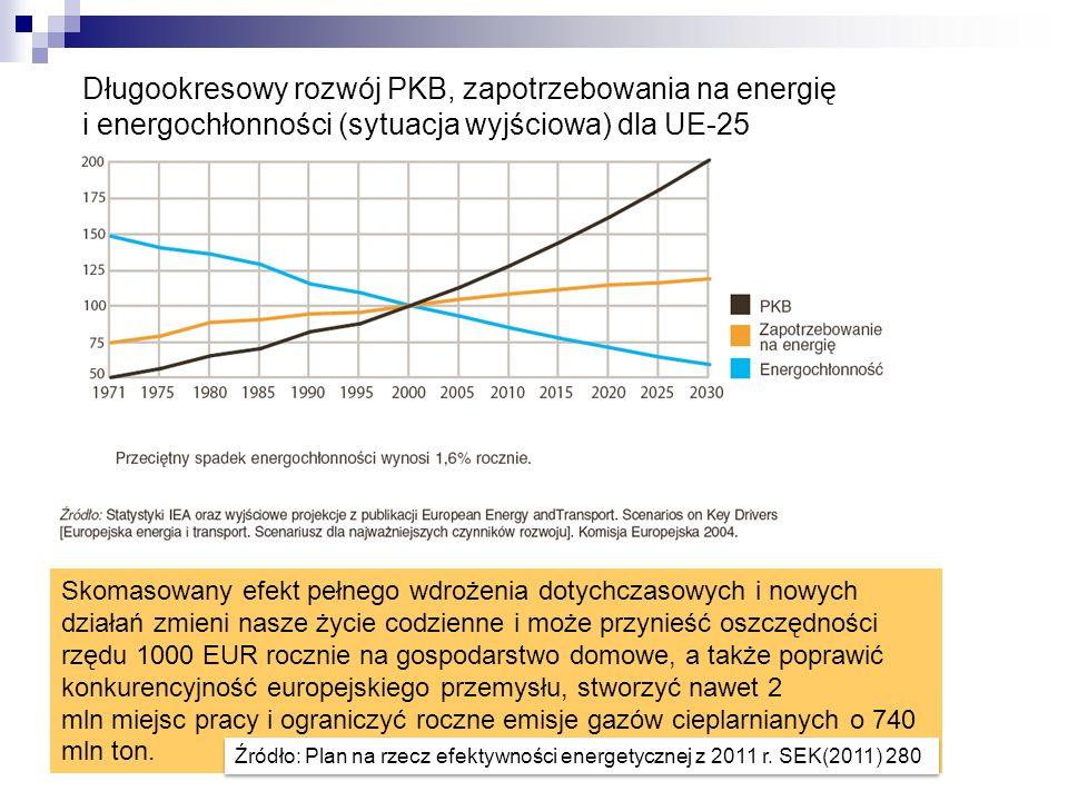 Długookresowy rozwój PKB, zapotrzebowania na energię i energochłonności (sytuacja wyjściowa) dla UE-25