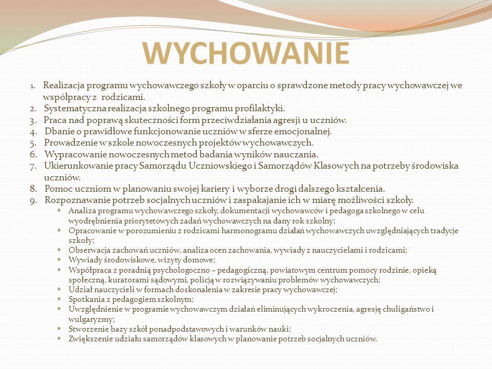 WYCHOWANIE 1. Realizacja programu wychowawczego szkoły w oparciu o sprawdzone metody pracy wychowawczej we współpracy z rodzicami.