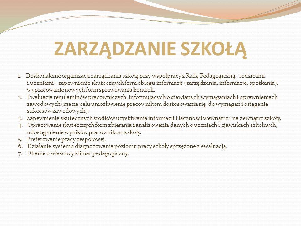 ZARZĄDZANIE SZKOŁĄ 1. Doskonalenie organizacji zarządzania szkołą przy współpracy z Radą Pedagogiczną, rodzicami.