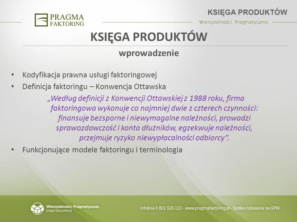 KSIĘGA PRODUKTÓW wprowadzenie Kodyfikacja prawna usługi faktoringowej