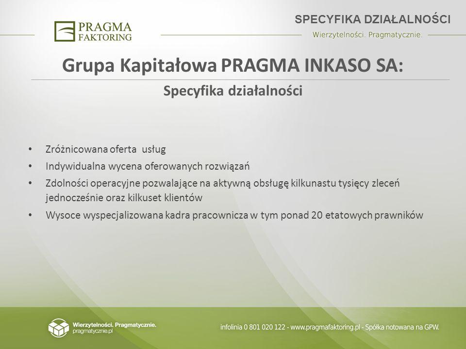 Grupa Kapitałowa PRAGMA INKASO SA: Specyfika działalności