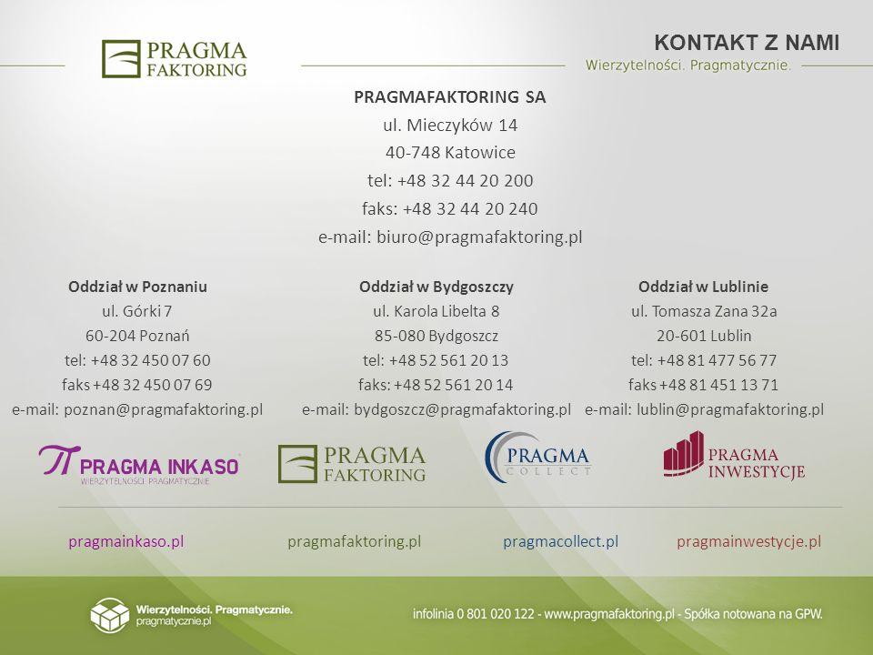 KONTAKT Z NAMI PRAGMAFAKTORING SA ul. Mieczyków 14 40-748 Katowice