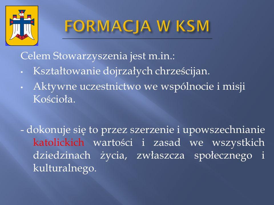 FORMACJA W KSM Celem Stowarzyszenia jest m.in.: