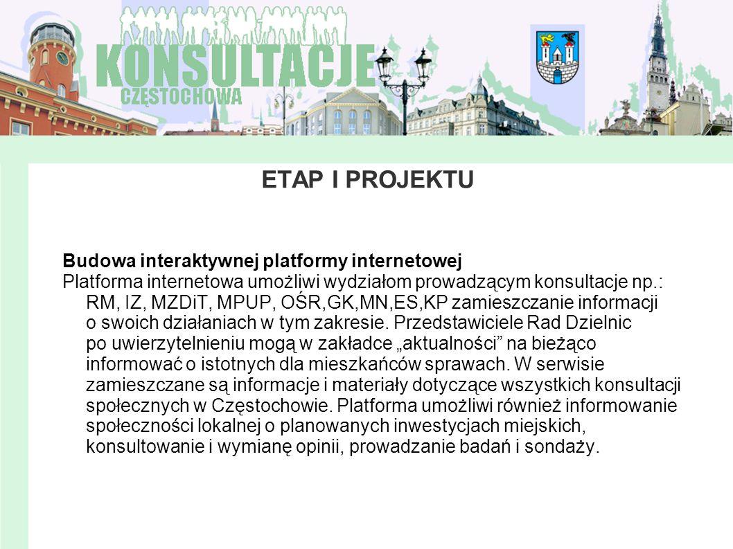 ETAP I PROJEKTU Budowa interaktywnej platformy internetowej