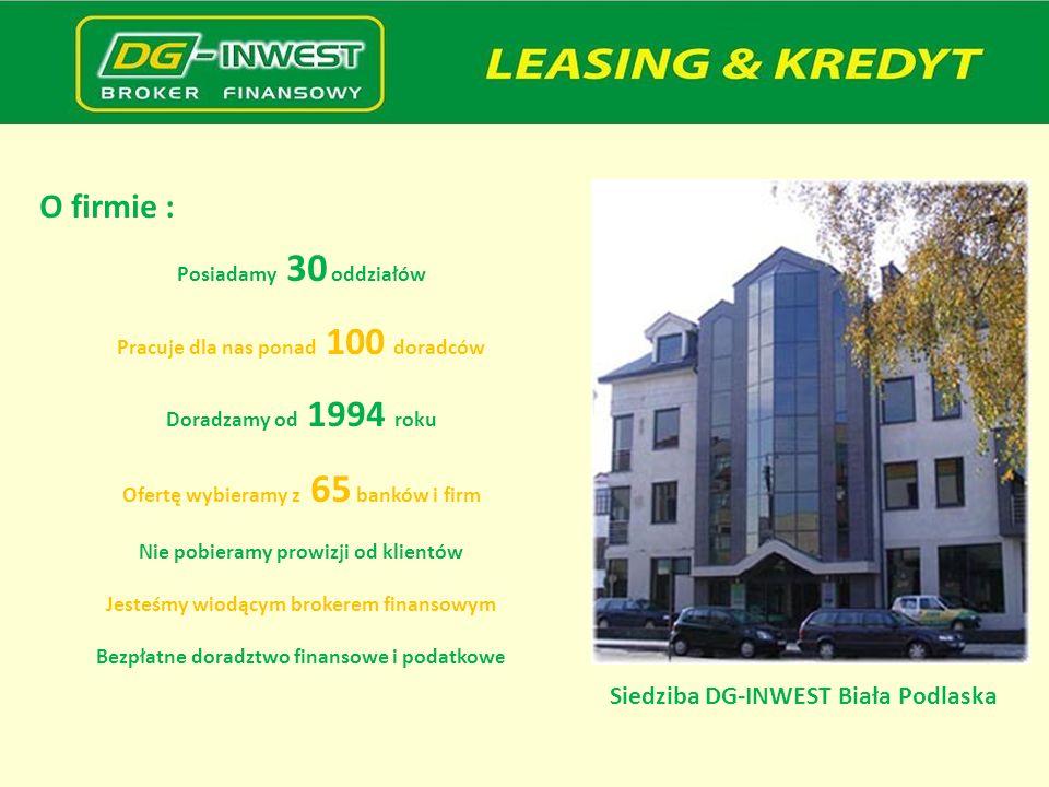 O firmie : Siedziba DG-INWEST Biała Podlaska Posiadamy 30 oddziałów