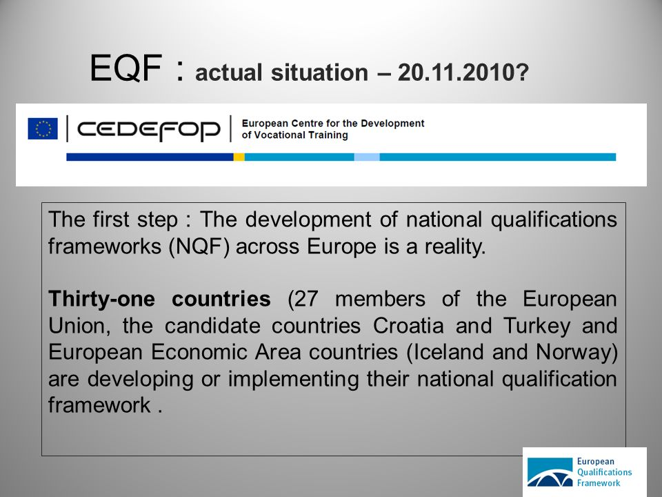 EQF : actual situation – 20.11.2010