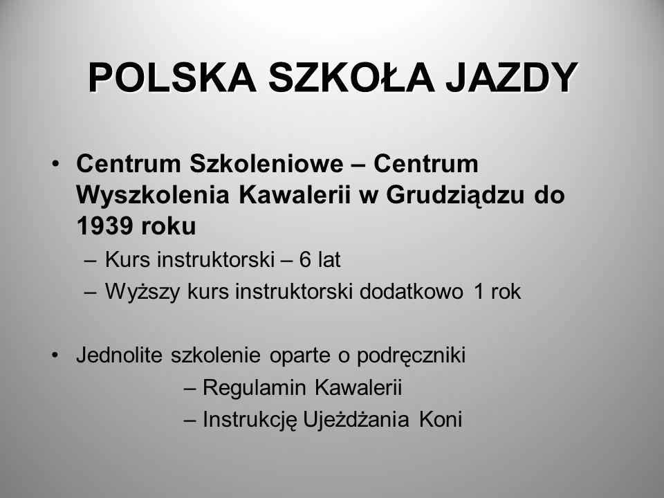POLSKA SZKOŁA JAZDYCentrum Szkoleniowe – Centrum Wyszkolenia Kawalerii w Grudziądzu do 1939 roku. Kurs instruktorski – 6 lat.
