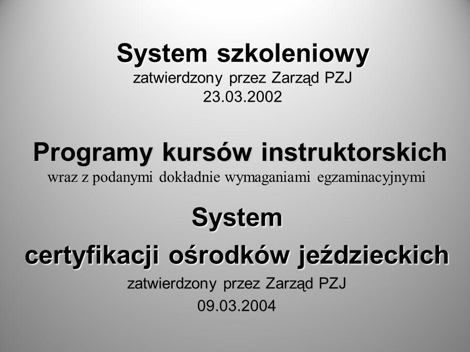 System szkoleniowy zatwierdzony przez Zarząd PZJ 23.03.2002