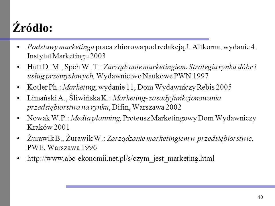 Źródło: Podstawy marketingu praca zbiorowa pod redakcją J. Altkorna, wydanie 4, Instytut Marketingu 2003.