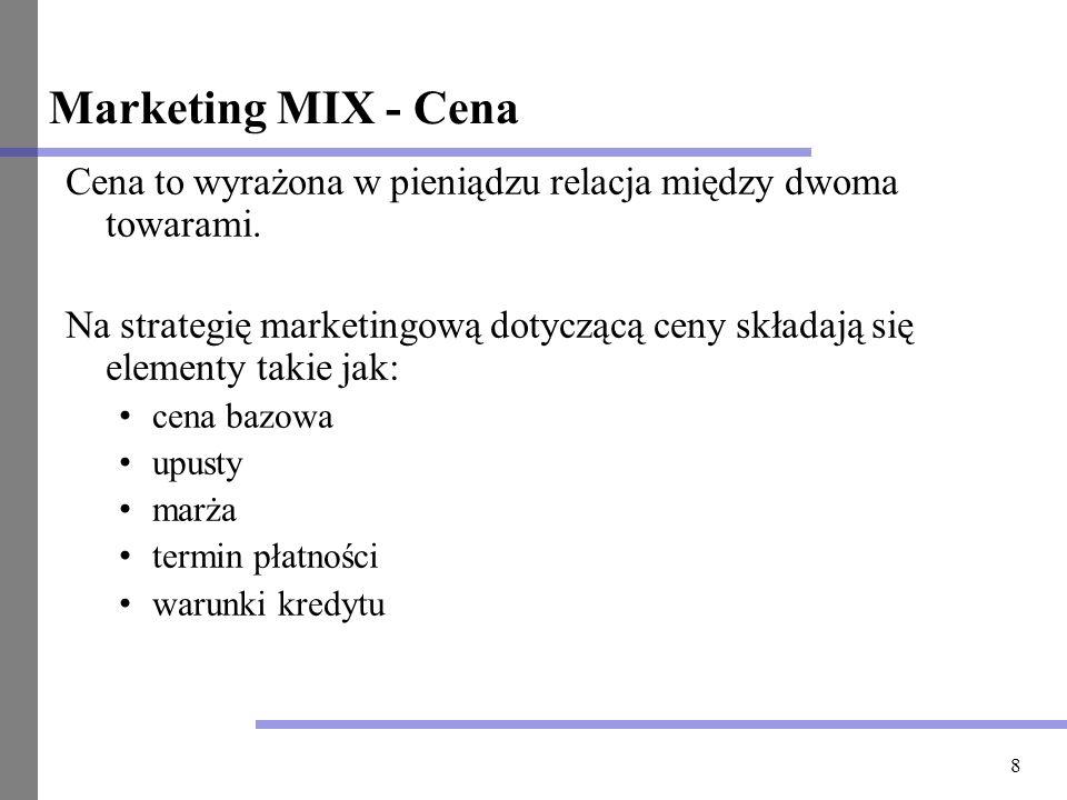 Marketing MIX - Cena Cena to wyrażona w pieniądzu relacja między dwoma towarami.