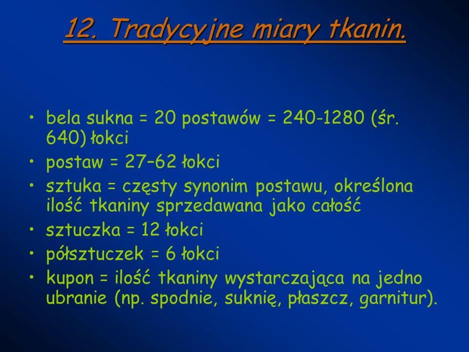 12. Tradycyjne miary tkanin.