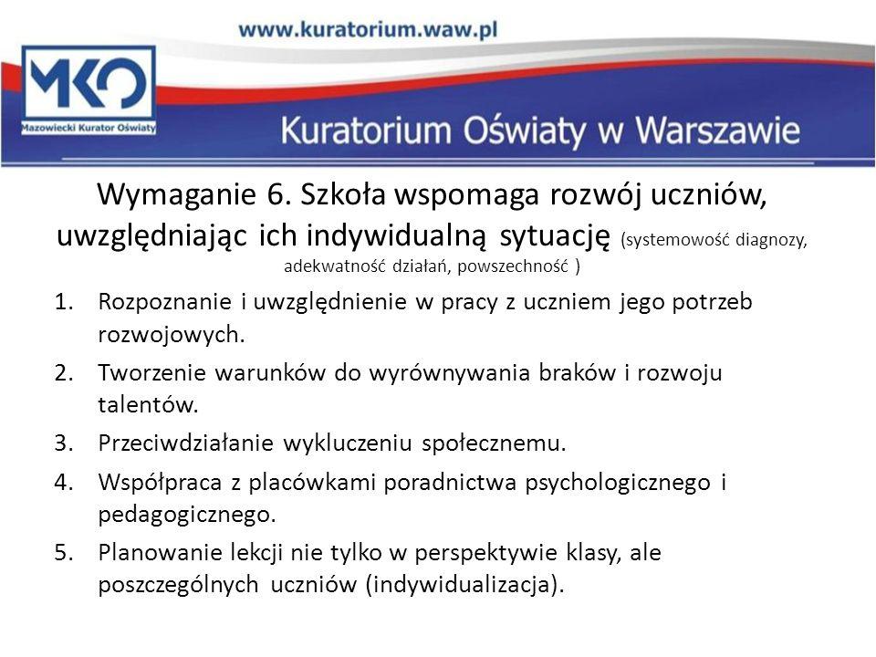 Wymaganie 6. Szkoła wspomaga rozwój uczniów, uwzględniając ich indywidualną sytuację (systemowość diagnozy, adekwatność działań, powszechność )