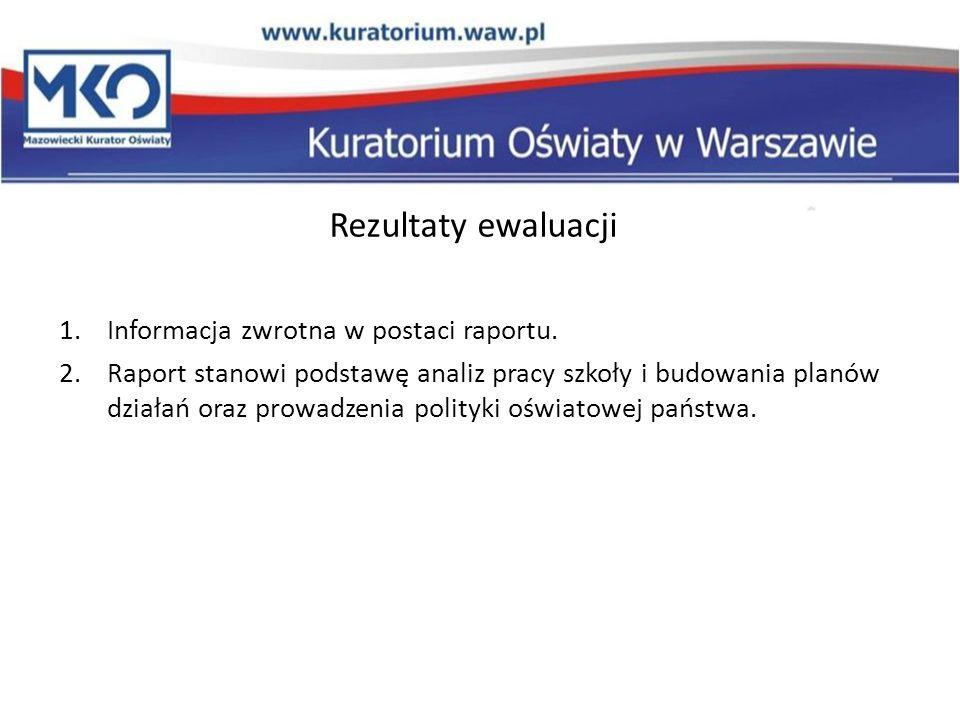 Rezultaty ewaluacji Informacja zwrotna w postaci raportu.