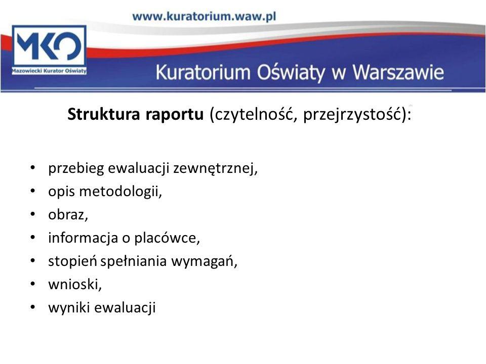 Struktura raportu (czytelność, przejrzystość):