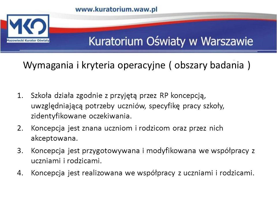 Wymagania i kryteria operacyjne ( obszary badania )