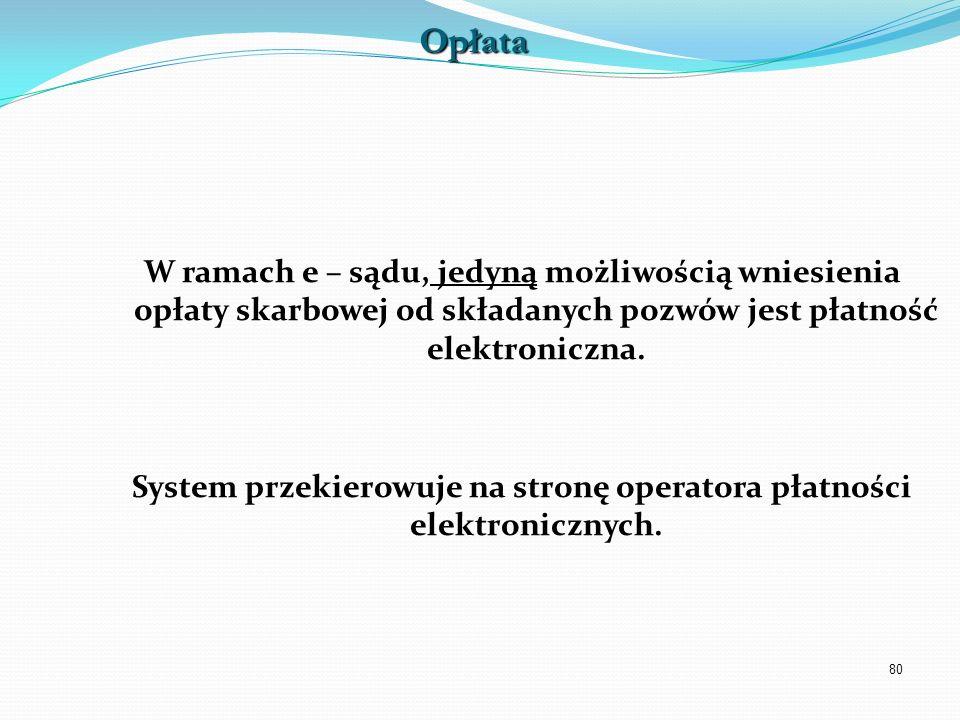 System przekierowuje na stronę operatora płatności elektronicznych.