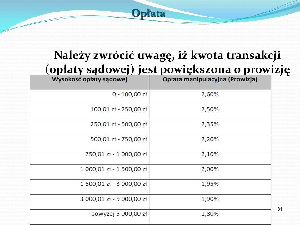 Opłata Należy zwrócić uwagę, iż kwota transakcji (opłaty sądowej) jest powiększona o prowizję operatora.