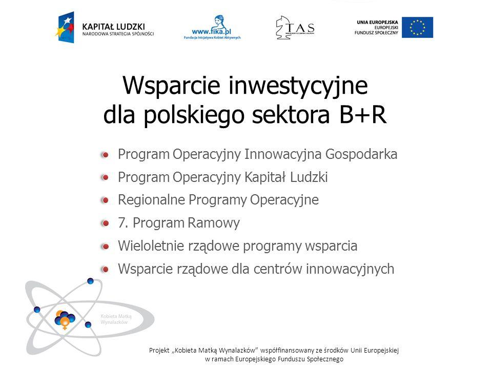 Wsparcie inwestycyjne dla polskiego sektora B+R