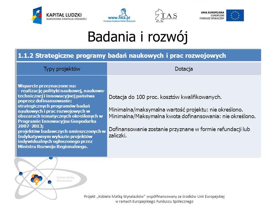 Badania i rozwój 1.1.2 Strategiczne programy badań naukowych i prac rozwojowych. Typy projektów. Dotacja.