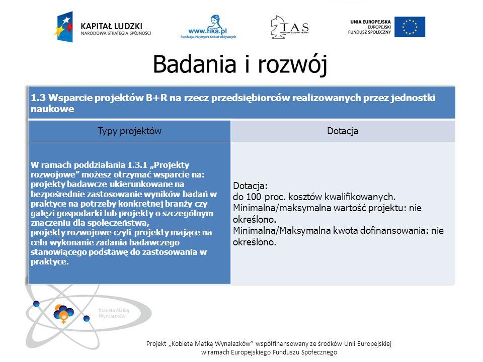 Badania i rozwój 1.3 Wsparcie projektów B+R na rzecz przedsiębiorców realizowanych przez jednostki naukowe.
