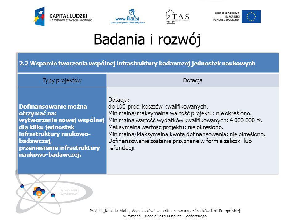 Badania i rozwój 2.2 Wsparcie tworzenia wspólnej infrastruktury badawczej jednostek naukowych. Typy projektów.