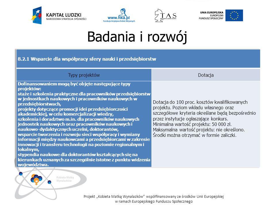 Badania i rozwój 8.2.1 Wsparcie dla współpracy sfery nauki i przedsiębiorstw. Typy projektów. Dotacja.
