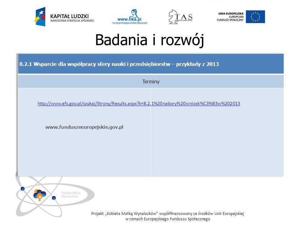 Badania i rozwój 8.2.1 Wsparcie dla współpracy sfery nauki i przedsiębiorstw – przykłady z 2013. Terminy.
