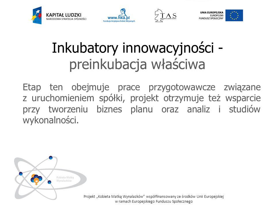 Inkubatory innowacyjności - preinkubacja właściwa