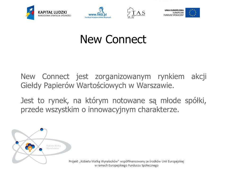 New Connect New Connect jest zorganizowanym rynkiem akcji Giełdy Papierów Wartościowych w Warszawie.