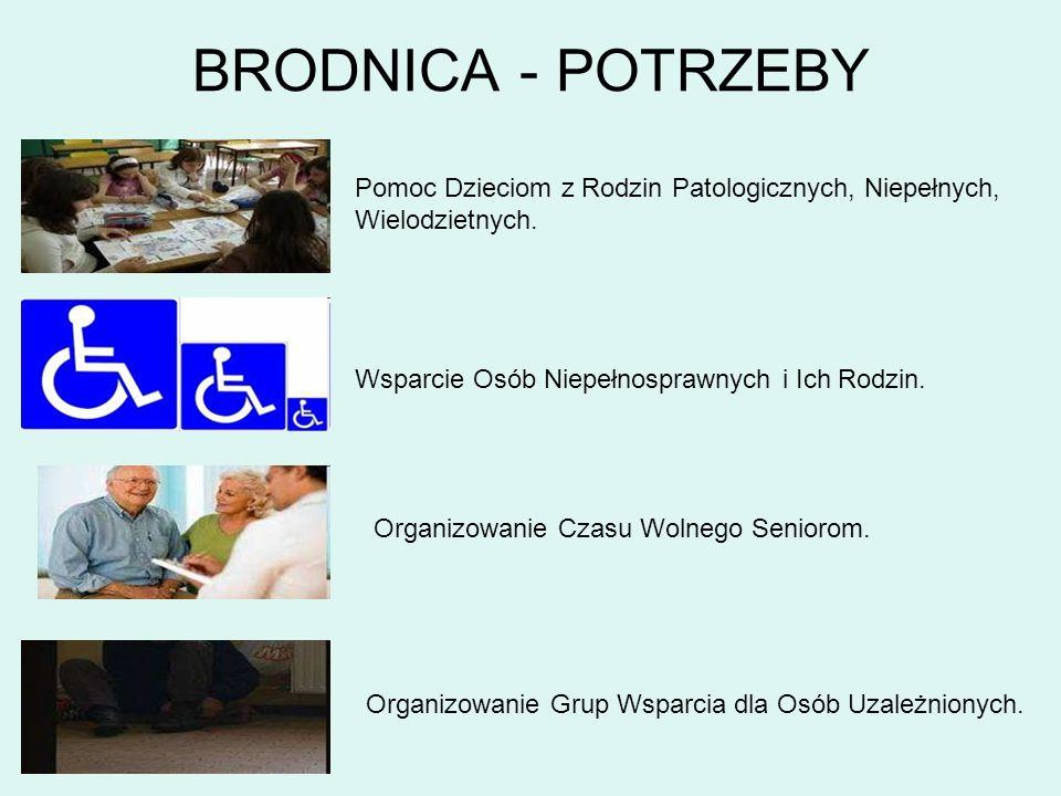BRODNICA - POTRZEBY Pomoc Dzieciom z Rodzin Patologicznych, Niepełnych, Wielodzietnych. Wsparcie Osób Niepełnosprawnych i Ich Rodzin.