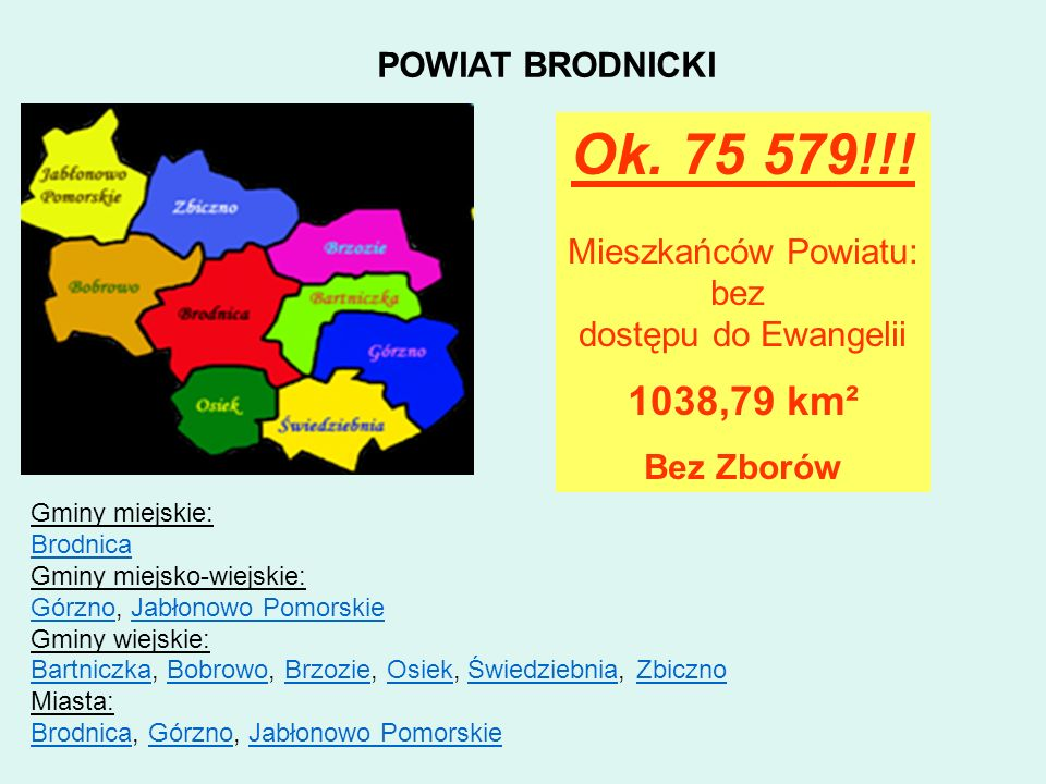 Ok. 75 579!!! 1038,79 km² POWIAT BRODNICKI Mieszkańców Powiatu: bez