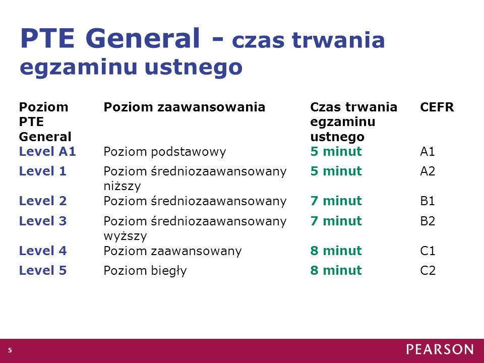 PTE General - czas trwania egzaminu ustnego