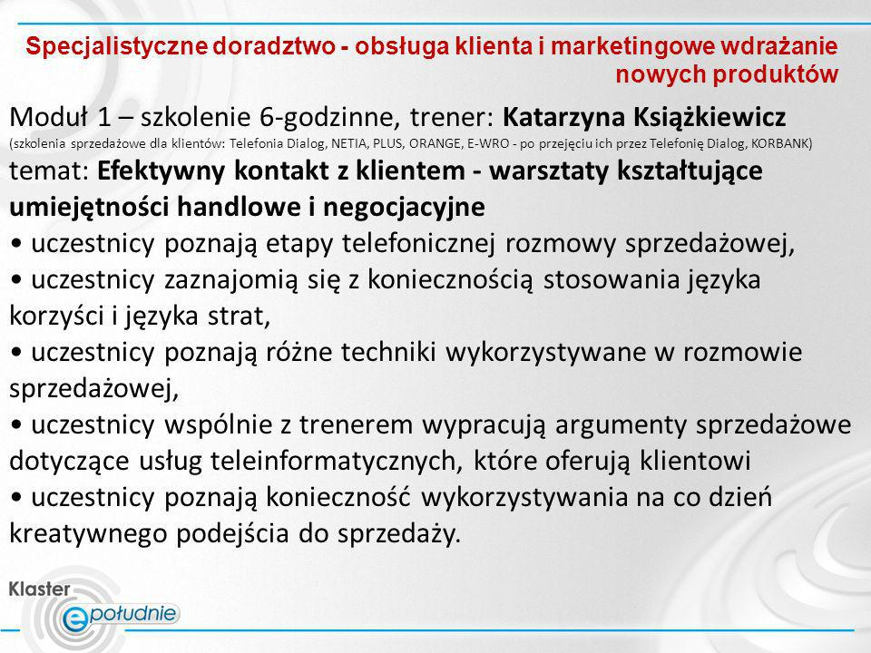Moduł 1 – szkolenie 6-godzinne, trener: Katarzyna Książkiewicz