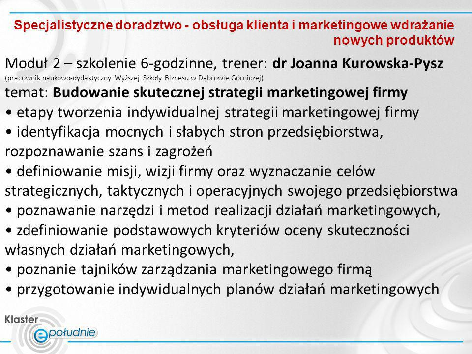 Moduł 2 – szkolenie 6-godzinne, trener: dr Joanna Kurowska-Pysz