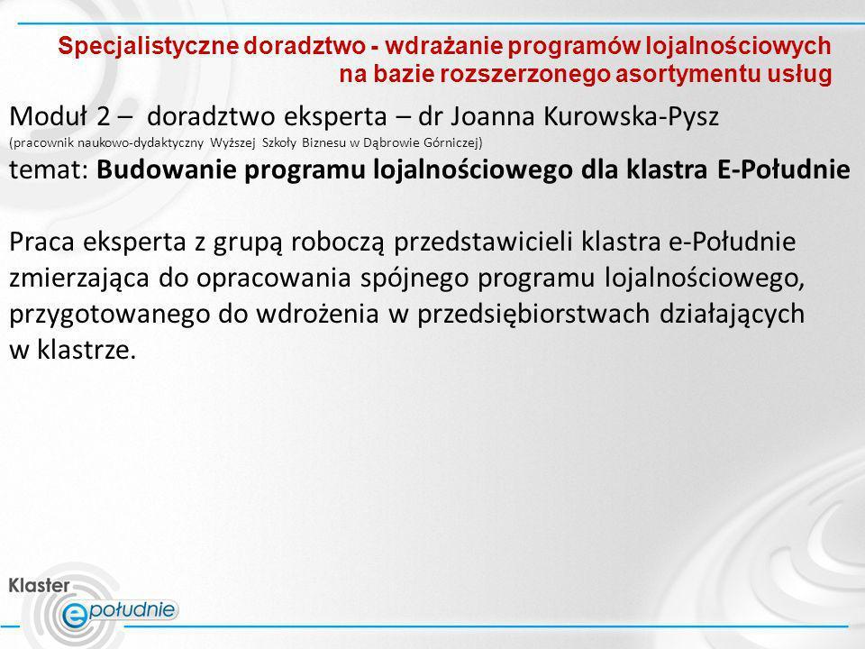 Moduł 2 – doradztwo eksperta – dr Joanna Kurowska-Pysz
