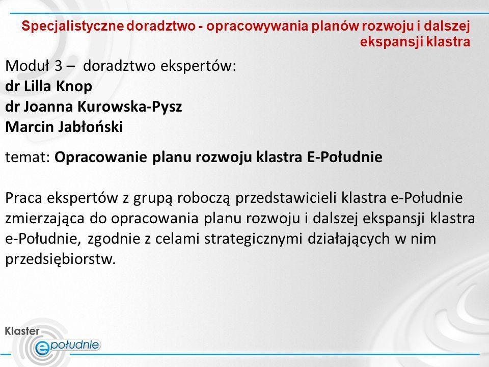 Moduł 3 – doradztwo ekspertów: dr Lilla Knop dr Joanna Kurowska-Pysz