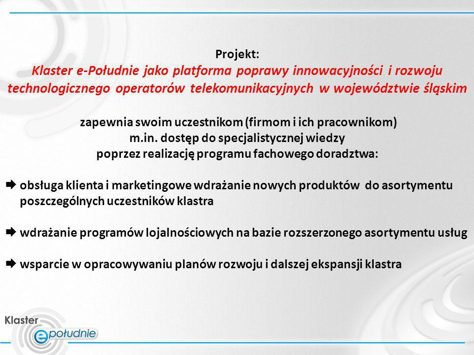 Projekt: Klaster e-Południe jako platforma poprawy innowacyjności i rozwoju technologicznego operatorów telekomunikacyjnych w województwie śląskim.