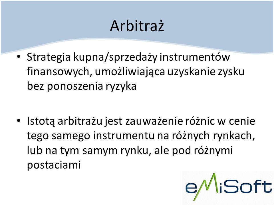 Arbitraż Strategia kupna/sprzedaży instrumentów finansowych, umożliwiająca uzyskanie zysku bez ponoszenia ryzyka.