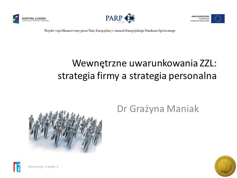 Wewnętrzne uwarunkowania ZZL: strategia firmy a strategia personalna