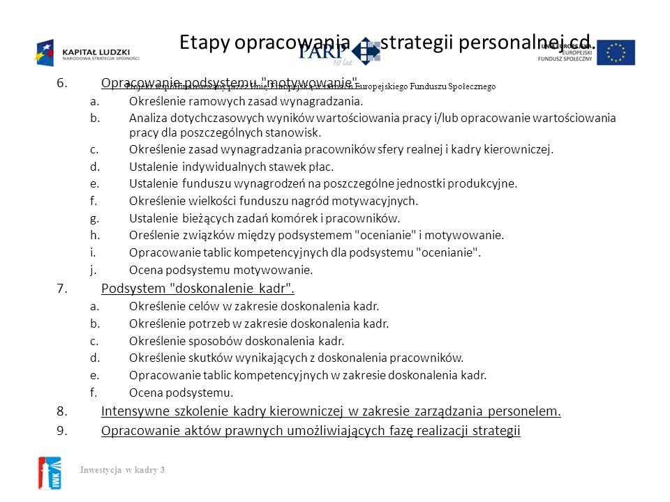 Etapy opracowania strategii personalnej cd.