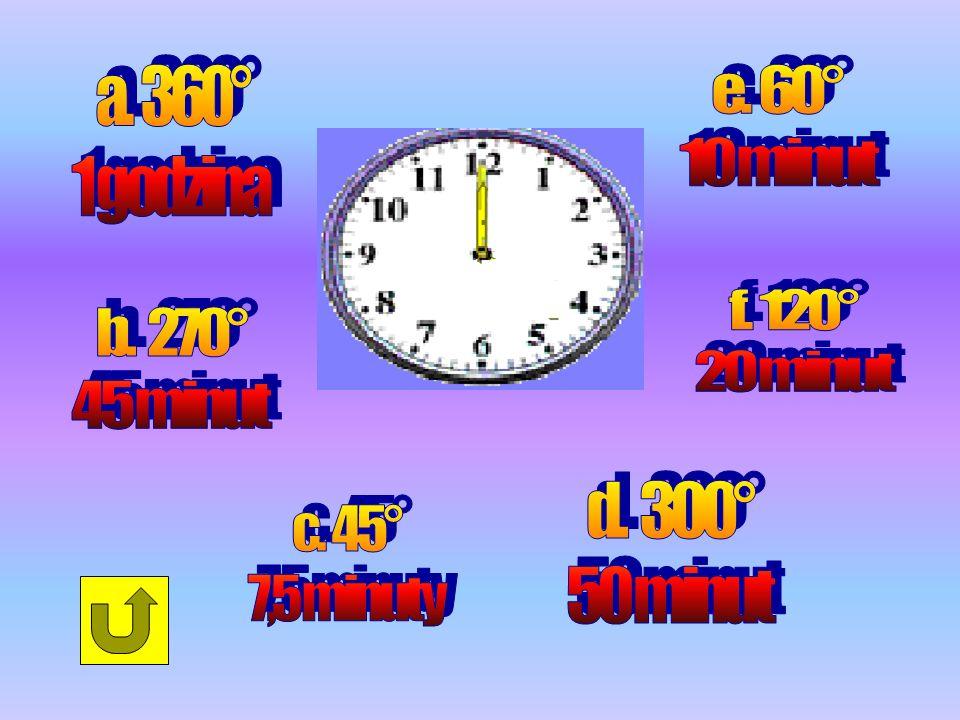 a. 360° 1 godzina. e. 60° 10 minut. f. 120° 20 minut. b. 270° 45 minut. d. 300° 50 minut.