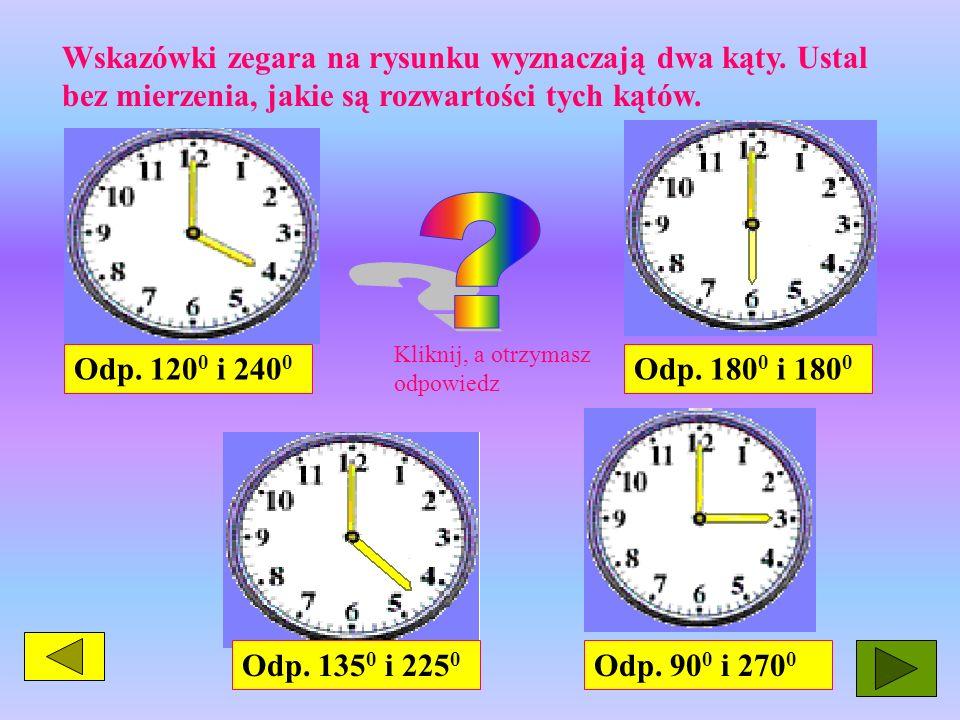 Wskazówki zegara na rysunku wyznaczają dwa kąty