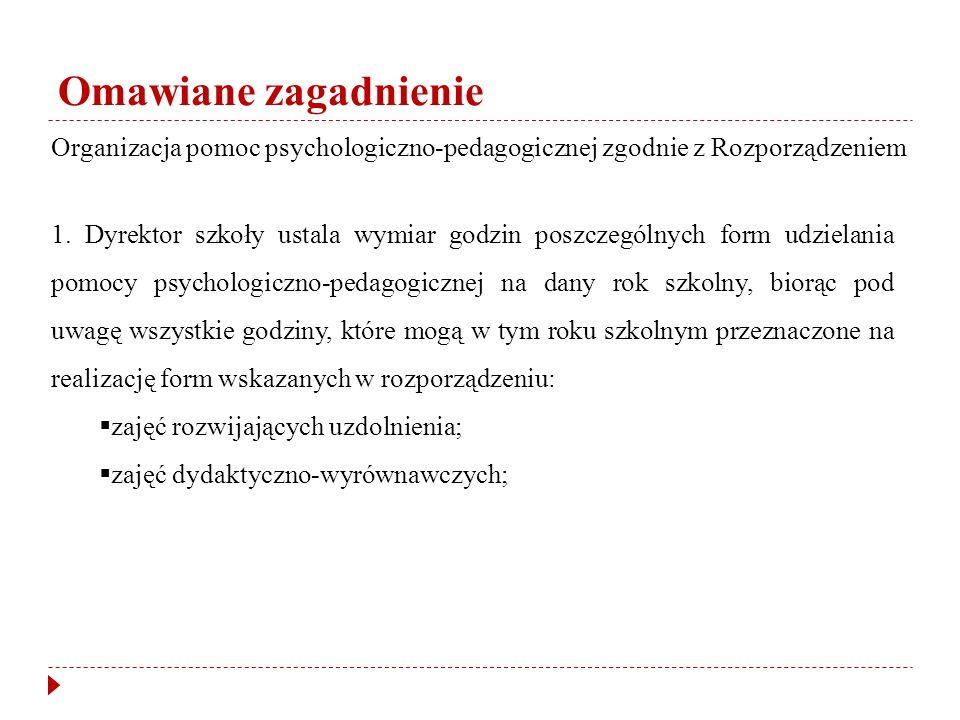 Omawiane zagadnienie Organizacja pomoc psychologiczno-pedagogicznej zgodnie z Rozporządzeniem.