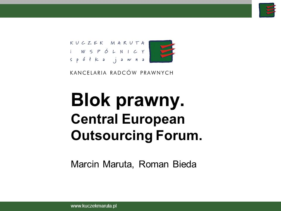 Blok prawny. Central European Outsourcing Forum.