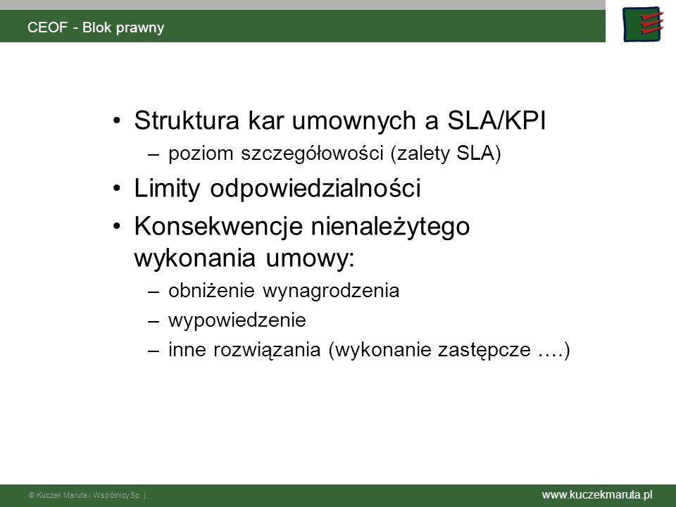 Struktura kar umownych a SLA/KPI Limity odpowiedzialności