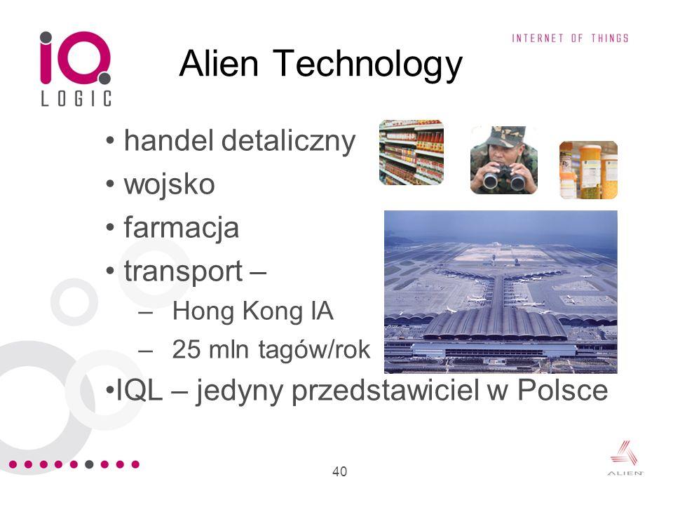 Alien Technology handel detaliczny wojsko farmacja transport –