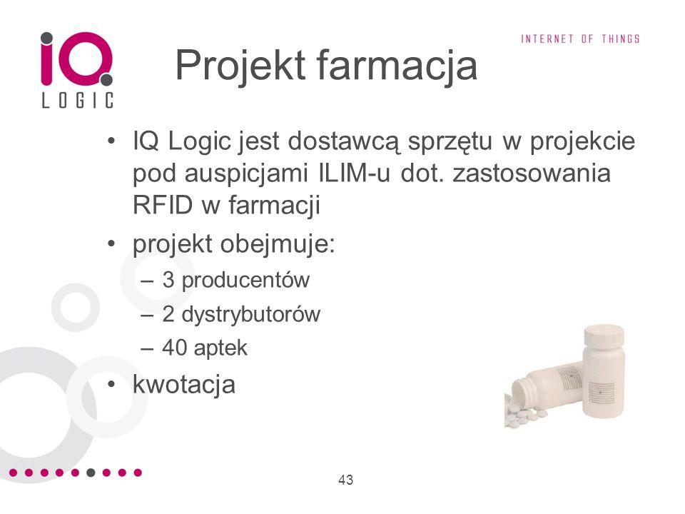 Projekt farmacja IQ Logic jest dostawcą sprzętu w projekcie pod auspicjami ILIM-u dot. zastosowania RFID w farmacji.