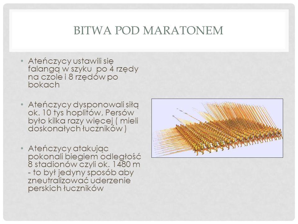 Bitwa pod Maratonem Ateńczycy ustawili się falangą w szyku po 4 rzędy na czole i 8 rzędów po bokach.