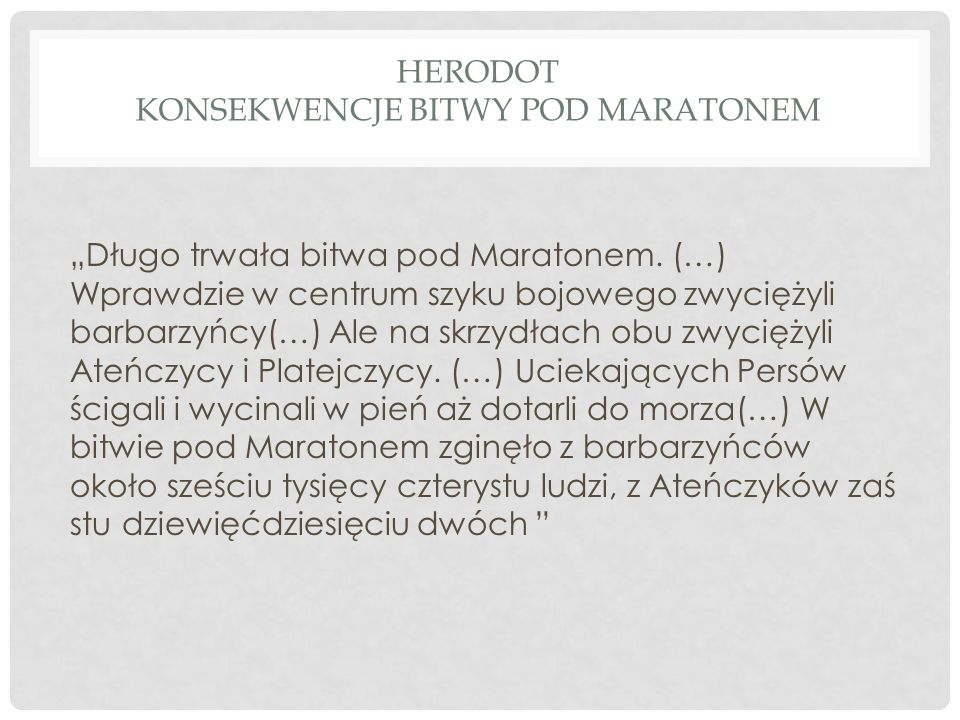 Herodot Konsekwencje bitwy pod Maratonem