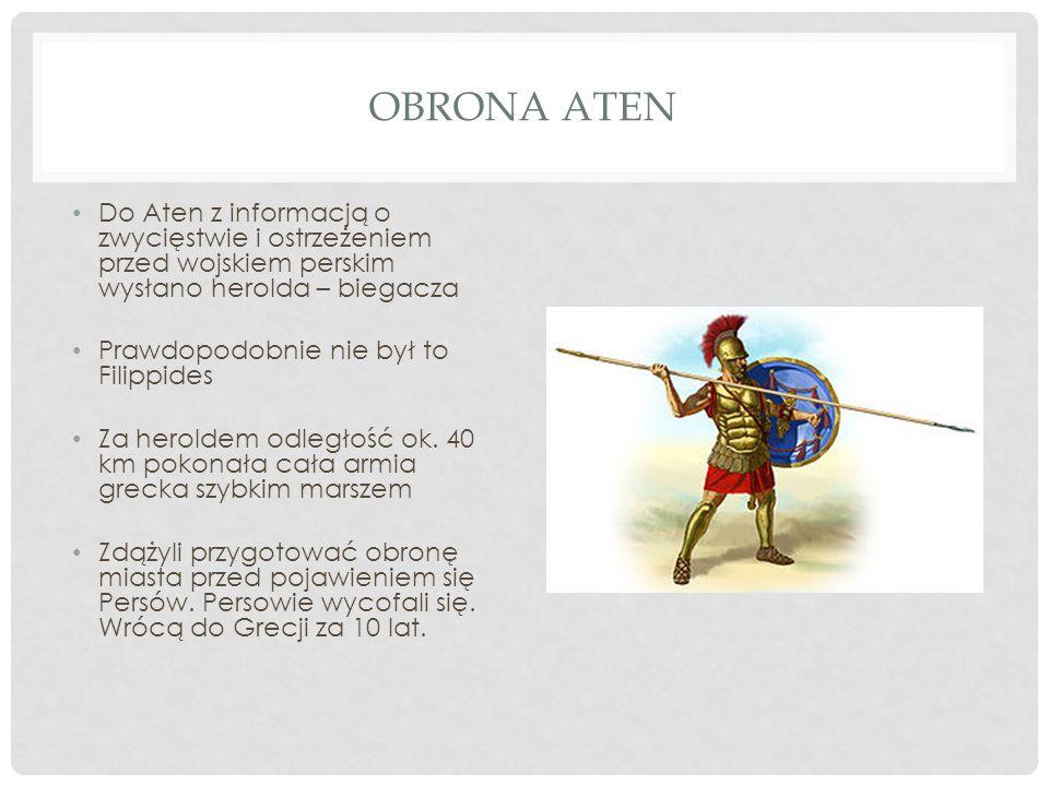 Obrona AtenDo Aten z informacją o zwycięstwie i ostrzeżeniem przed wojskiem perskim wysłano herolda – biegacza.